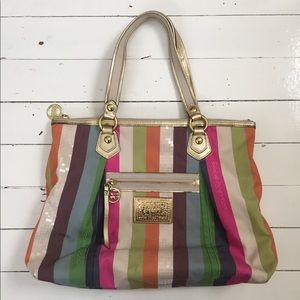 Coach Poppy Multi Legacy Stripe Tote Shoulder Bag